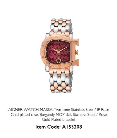 Aigner Watch Massa Gold Burgundy MOP