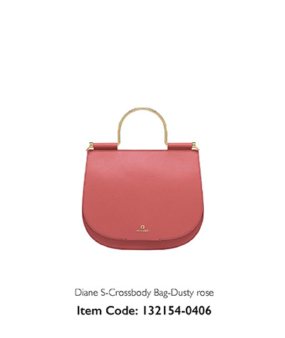 Aigner Woman Diag Crossbody Bag Dusty Rose