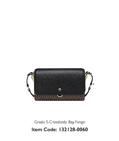 Aigner Woman Grazia Crossbody Bag Black and Printed