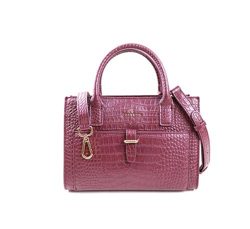 Christina Tote Bag-Crocodile Pattern Leather-Bordeaux