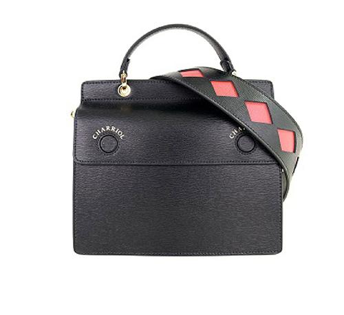 Havana Hand Bag W Double Flap-Black & Orange