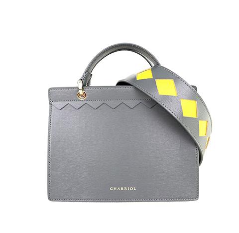 Havana Hand Bag W Zipper-Grey & Yellow