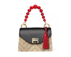 BAG CARTELLA KATE STRAW/BLACK/RED PEARL
