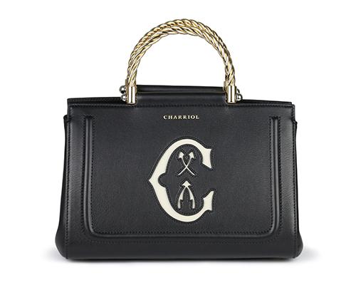 Marie Olga Charriol Bag with 2 Handles-Black