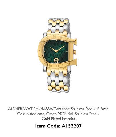 Aigner Watch Massa Gold plated case Green MOP