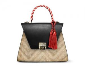 BAG BAULE SABRINA SMALL STRAW/RED/BLACK