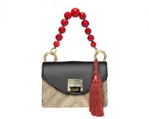 BAG MINI BAG LILY STRAW/BLACK/RED PEARL