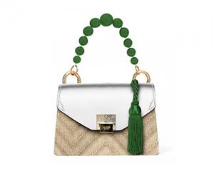 BAG CARTELLA KATE STRAW/WHITE/GREEN PEARL