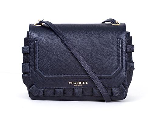 CHARRIOL LEATHER-CELTIC BAG Ex3 FRLLY FLAP BLU NAVY/BORD YLW